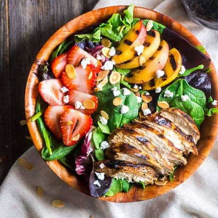 Strawberry Salad with Grilled Nectarines and Balsamic Vinaigrette {Gluten free + Super Simple}