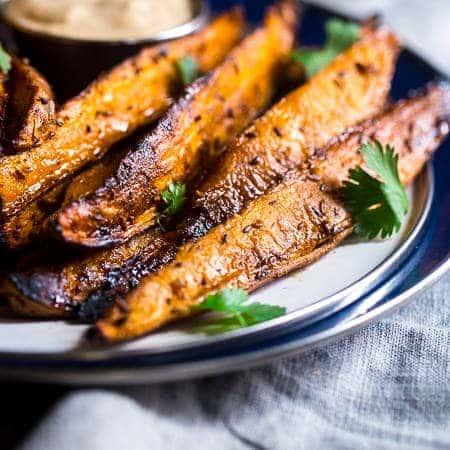 Maple Tahini Grilled Sweet Potatoes {Vegan + Paleo}