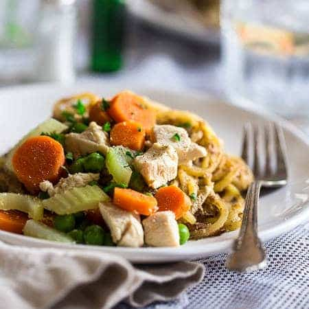 Healthy Chicken Pot Pie Potato Noodles - Spiralized potato noodles are mixed with a creamy Greek yogurt sauce, chicken, carrots and peas to make up this gluten free, healthy chicken pot pie, that is sure to please the pickiest of eaters! | Foodfaithfitness.com | @FoodFaithFit