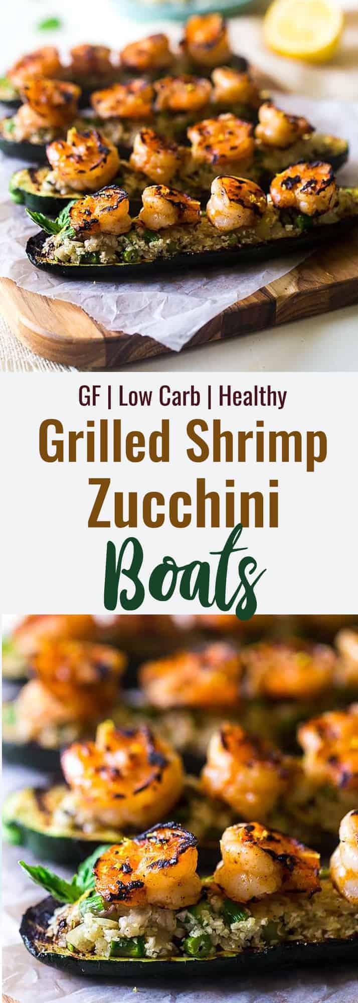 shrimp zucchini boats collage photo