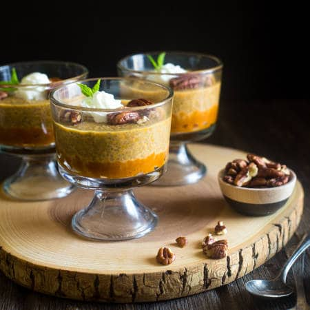 Pumpkin Pie Chia Pudding - This chia pudding is only 6 ingredients and tastes just like pumpkin pie. You'd never know it's secretly healthy! Perfect for a make-ahead breakfast! | Foodfaithfitness.com | @FoodFaithFit