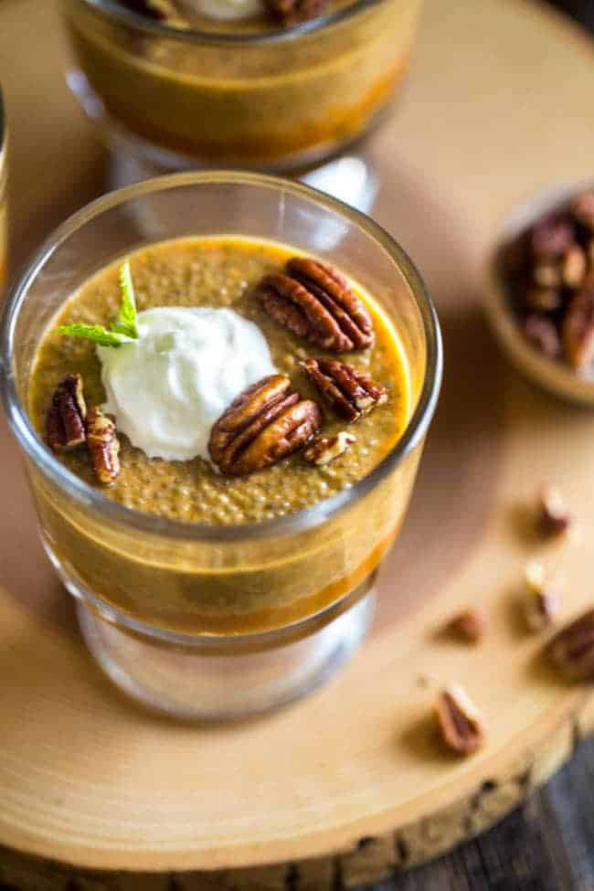 Pumpkin Pie Chia Pudding - This chia pudding is only 6 ingredients and tastes just like pumpkin pie. You'd never know it's secretly healthy! Perfect for a make-ahead breakfast!   Foodfaithfitness.com   @FoodFaithFit