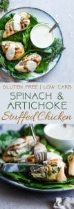 Spinach Artichoke Greek Yogurt Chicken - Chicken is stuffed,grilled and topped with a creamy, Parmesan Greek yogurt sauce! It's a healthy, low carb dinner that's perfect for a weeknight, and only 1 WW Freestyle point! | #Foodfaithfitness | #GreekYogurt #LowCarb #Healthy #Glutenfree #ChickenDinner
