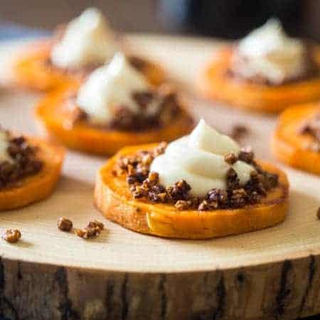 4 Ingredient Sweet Potato Pie Bites - These gluten free maple roasted sweet potato pie bites are a quick and easy snack or appetizer that tastes just like sweet potato pie, but are a whole easier to make! Perfect for Thanksgiving!   FoodFaithFitness.com   @FoodFaithFit
