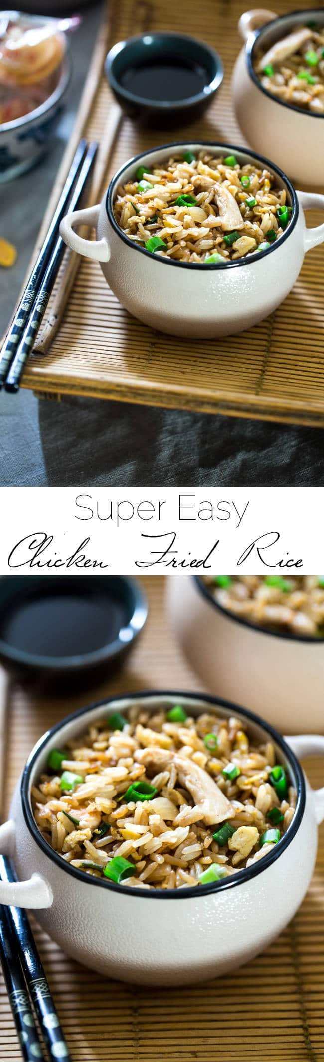 Easy Chicken Fried Rice - This chicken fried rice is better than takeout, and you can eat it without leaving your house! It's a quick, gluten free weeknight dinner that's always a crowd pleaser! | Foodfaithfitness.com | @FoodFaithFit