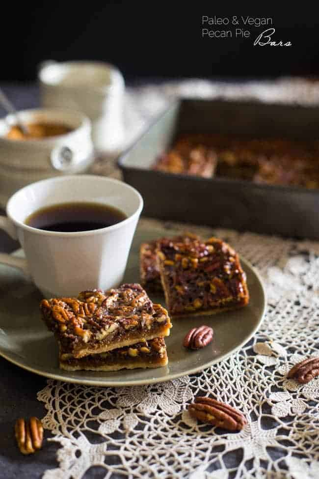 Vegan + Paleo Pecan Pie Bars - These bars are so easy to make and only have 6 ingredients. You would never know they're secretly a healthy, gluten free, and vegan-friendly treat that's perfect for Thanksgiving!   Foodfaithfitness.com   @FoodFaithFit