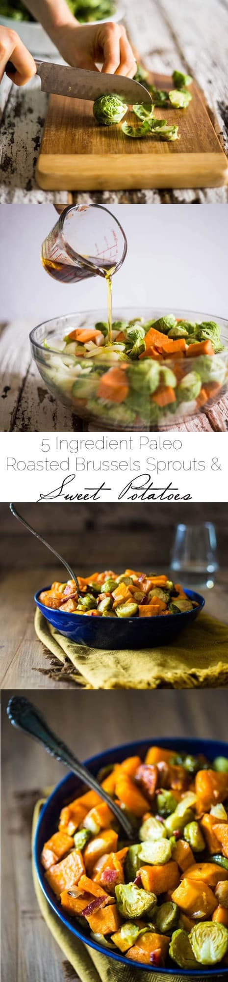 Paleo Maple Roasted Brussels Sprouts, Sweet Potatoes and Bacon - A gluten free, healthy side dish with only 5 ingredients, that is easy to make! Perfect for Thanksgiving or Christmas! | Foodfaithfitness.com | @FoodFaithFit | roasted brussel sprouts with bacon. roasted brussel sprouts and sweet potato. healthy roasted brussels sprouts. crispy roasted brussels sprouts. paleo roasted brussels sprouts. healthy thanksgiving recipes. healthy side dish recipes.