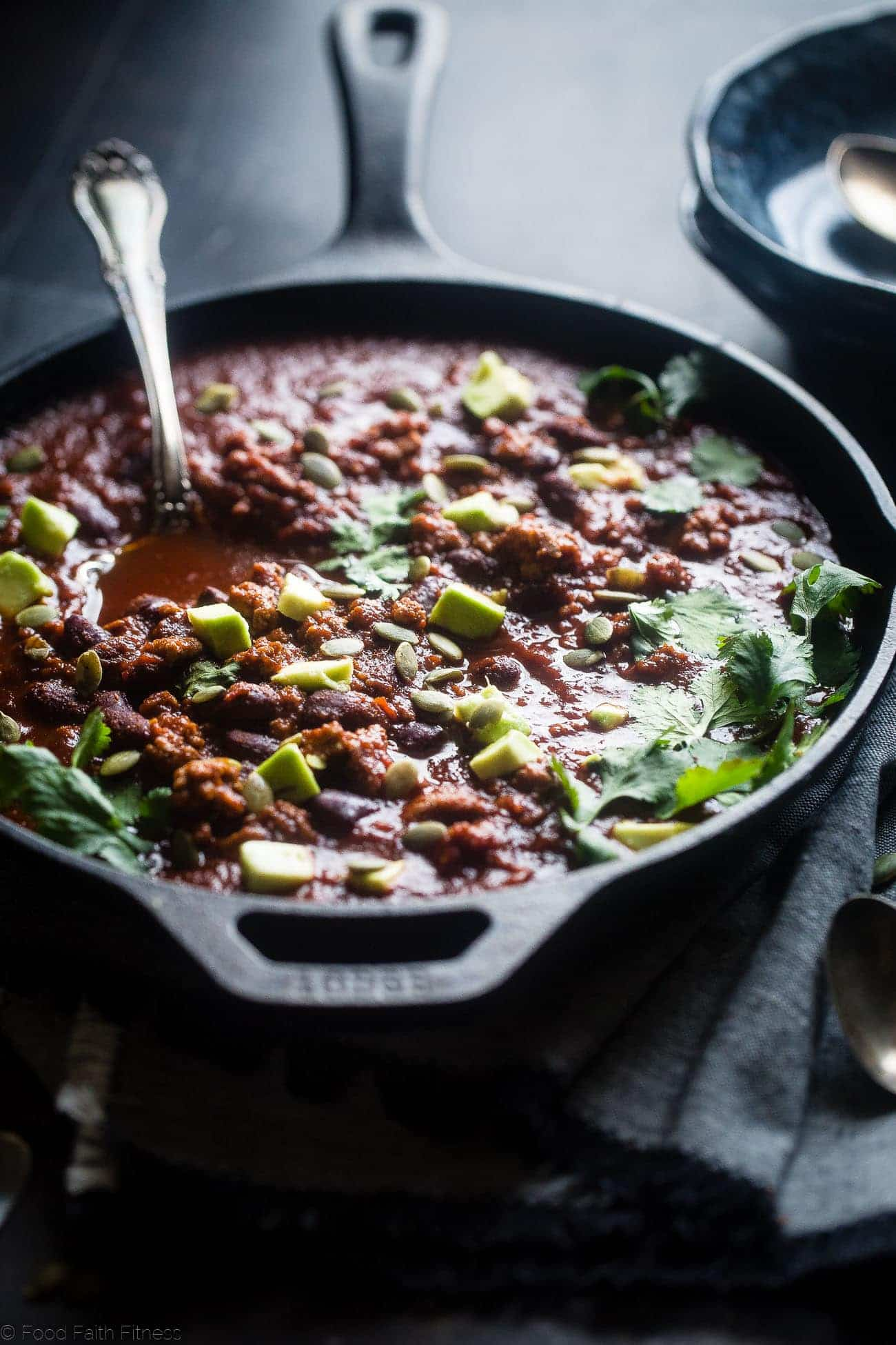 One-Pot Smoky and Sweet Turkey Chili - This turkey chili is an easy and gluten free weeknight meal that's perfect for cold, winter nights. It's healthy comfort food that the whole family will love! | Foodfaithfitness.com | @FoodFaithFit