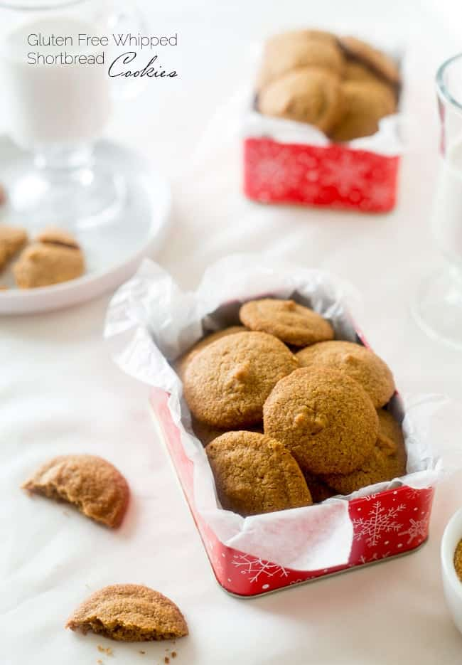 Whipped Gluten Free Shortbread Cookies - These light, airy and melt-in your mouth Christmas cookies are made with oat flour and coconut sugar so they're a refined-sugar free, healthier cookie for only 77 calories! | Foodfaithfitness.com | @FoodFaithFit