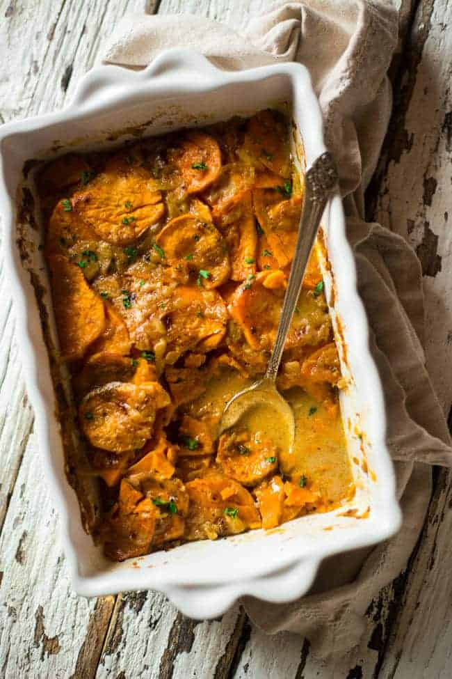 Paleo and Vegan Scalloped Sweet Potatoes| Foodfaithfitness.com | @FoodFaithFit