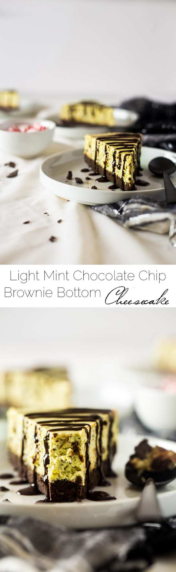Gluten Free Brownie Bottomed Mint Chocolate Avocado Cheesecake - This creamy gluten free cheesecake uses avocado to make it naturally green. It has a rich brownie bottom crust and you'll never know it's secretly healthy! Perfect for Christmas!   Foodfaithfitness.com   @FoodFaithFit