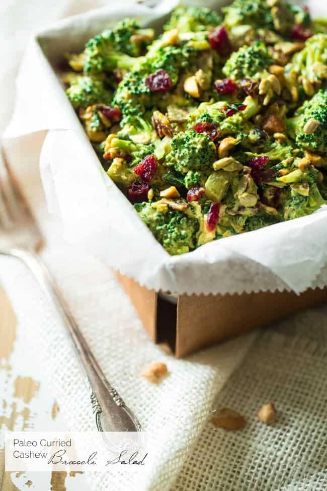 Top 10 Healthy Recipes - Paleo Curry Cashew Broccoli Salad | Foodfaithfitness.com | @FoodFaithFit