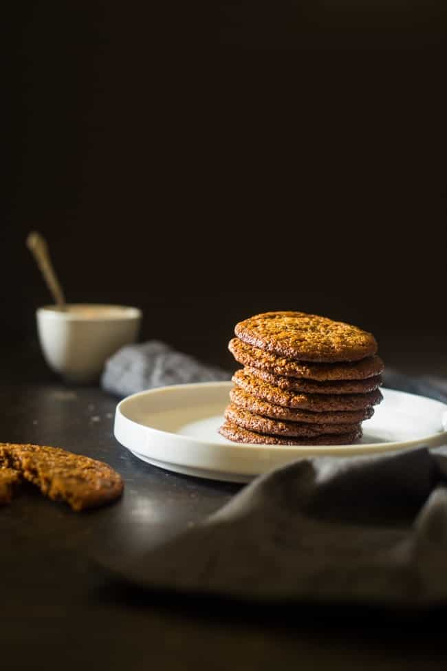 Vegan and Paleo Almond Butter Spice Cookies - You'll never know these spicy-sweet, crispy on the outside and chewy on the inside paleo cookies are secretly healthy and vegan friendly! Perfect for Christmas! | Foodfaithfitness.com | @FoodFaithFit