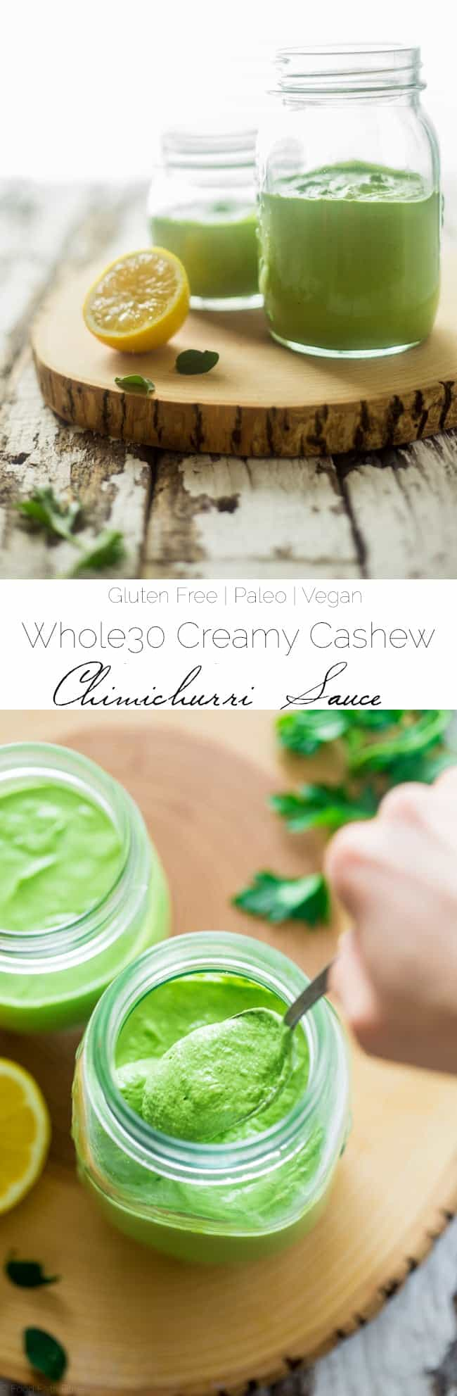 Whole30 Creamy Chimichurri Sauce - This chimichurri sauce uses a surprise ingredient to make it thick and creamy! It's a super easy, paleo, vegan and whole30 compliant addition to many meals! | Foodfaithfitness.com | @FoodFaithFit