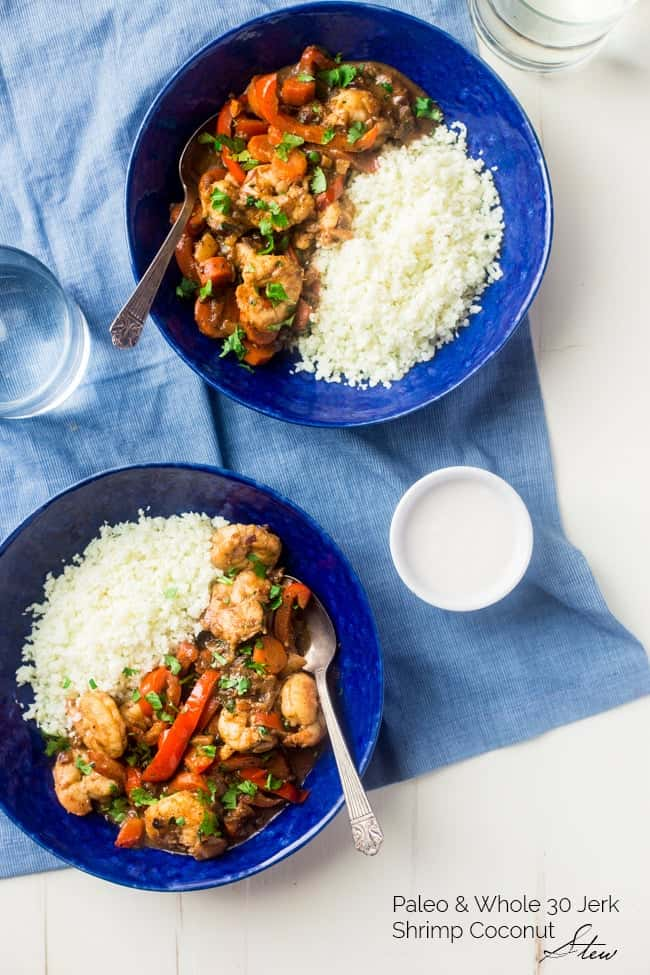 Whole 30 Jerk Shrimp Stew with Cauliflower Rice - This creamy stew uses coconut milk, pineapples and bold flavors for a healthy, 30 minute weeknight meal that is paleo friendly and whole 30 compliant!   Foodfaithfitness.com