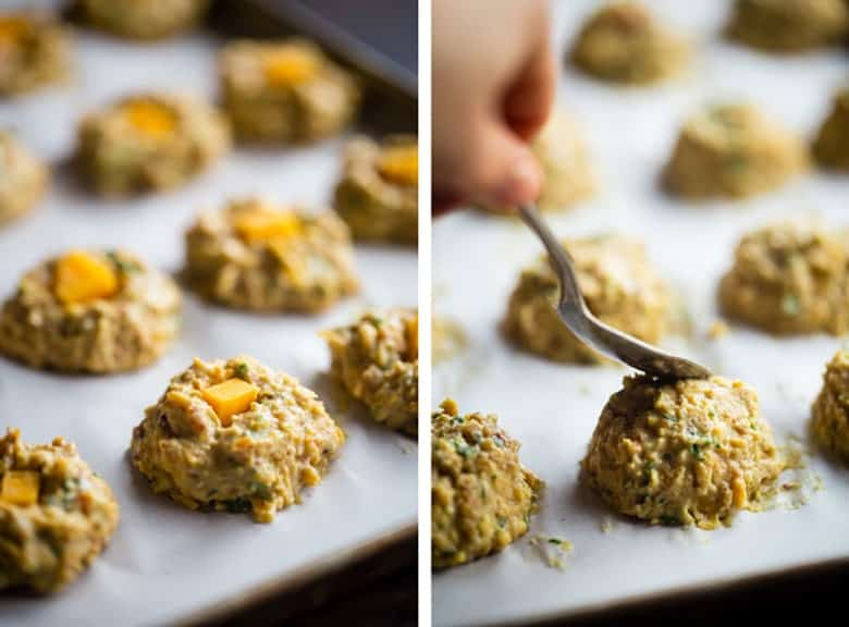 Cheese Stuffed Mexican Hummus Bites - These cheesy hummus bites are made extra crispy with roasted chickpeas! Dip them in a guacamole for a healthier snack or appetizer on game day! Only 3 SmartPoints. | FoodFaithFitness.com | @FoodFaithFit