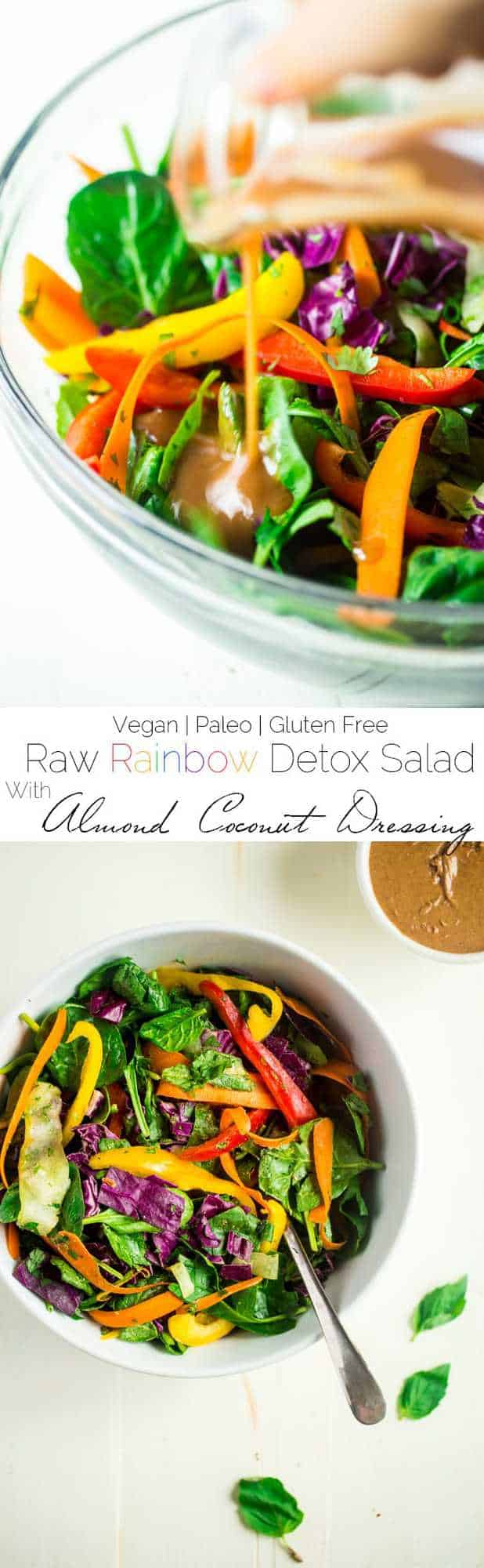 Paleo and Vegan Raw Summer Roll Salad with Almond Vinaigrette - This easy, raw salad tastes just like a summer roll, but without all the work! It's a healthy meal that's ready in 15 minutes and under 250 calories! Whole30 option included! | Foodfaithfitness.com | @FoodFaithFit