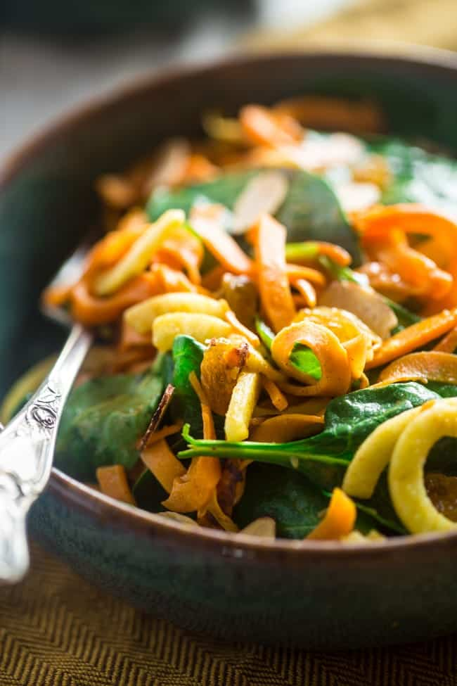 Whole 30 and Vegan Sweet Potato Noodles and Apple Spinach Salad with Almond Dijon Vinaigrette - A healthy, weeknight meal that is ready in only 20 minutes! | Foodfaithfitness.com | @FoodFaithFit
