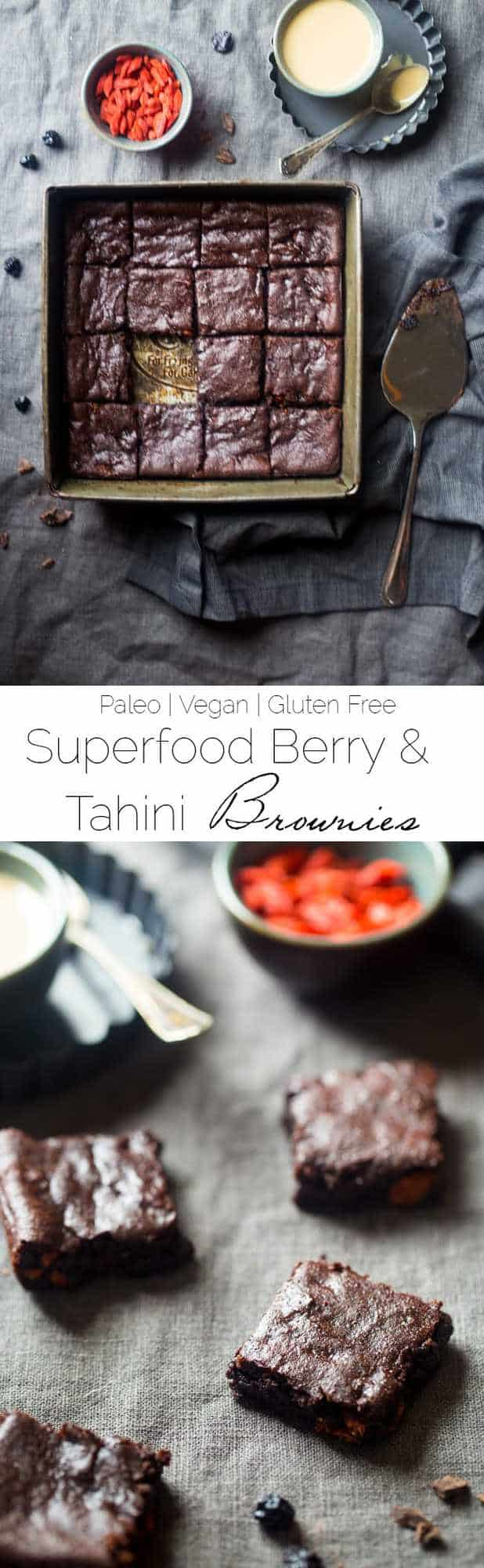Vegan Superfood Berry Tahini Brownies - These vegan brownies are so dense and chewy that you'd never know they're a superfood-packed, healthy and paleo friendly dessert for only 107 calories! | Foodfaithfitness.com | @FoodFaithFit