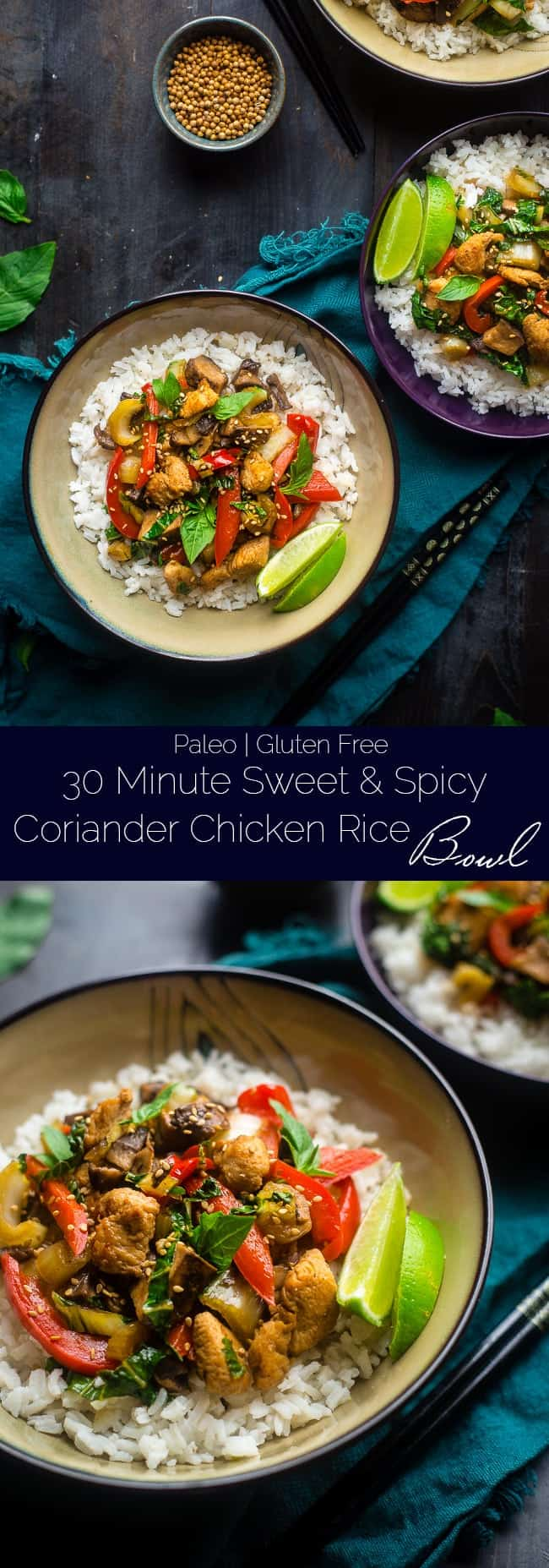 Paleo Coriander Chicken Stir Fry - This healthy chicken stir fry has fresh coriander and a spicy, sweet sauce. It's a healthy, gluten free and paleo friendly meal that's ready in 30 minutes! Perfect for busy weeknights! | Foodfaithfitness.com | @FoodFaithFit