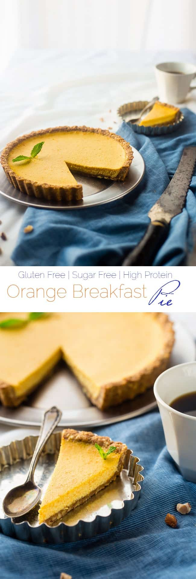 Gluten Free Orange Pie with Almond Crust - This easy, healthy orange pie uses a secret ingredient to make it PACKED with protein and low in calories! It's perfect for breakfast, snack or dessert! | Foodfaithfitness.com | @FoodFaithFit