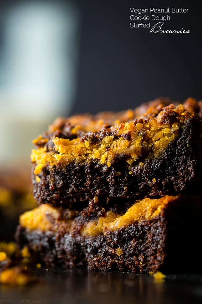 Vegan Peanut Butter Cookie Dough Stuffed Brownies - You'll never believe these dense, chewy vegan brownies are completely oil and butter free, and are a healthy, gluten free treat for only 150 calories!   Foodfaithfitness.com   @FoodFaithFit