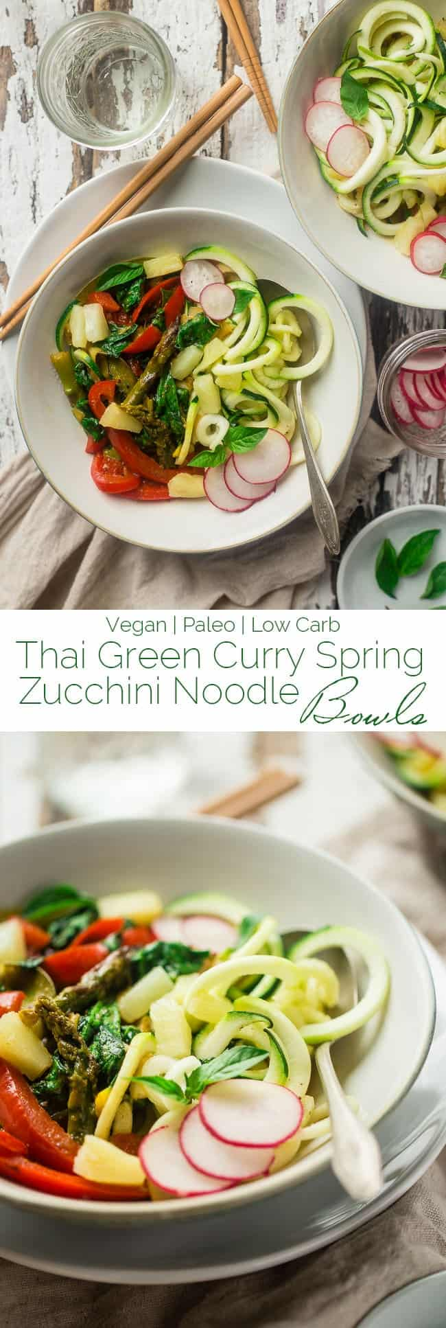 Vegan and Paleo Green Coconut Curry Spring Veggie Bowls with Zucchini Noodles - These easy bowls are made with pineapple, spring veggies, zucchini noodles and a creamy green coconut curry sauce! They're perfect for Meatless Monday and only 250 calories! | Foodfaithfitness.com | @FoodFaithFit