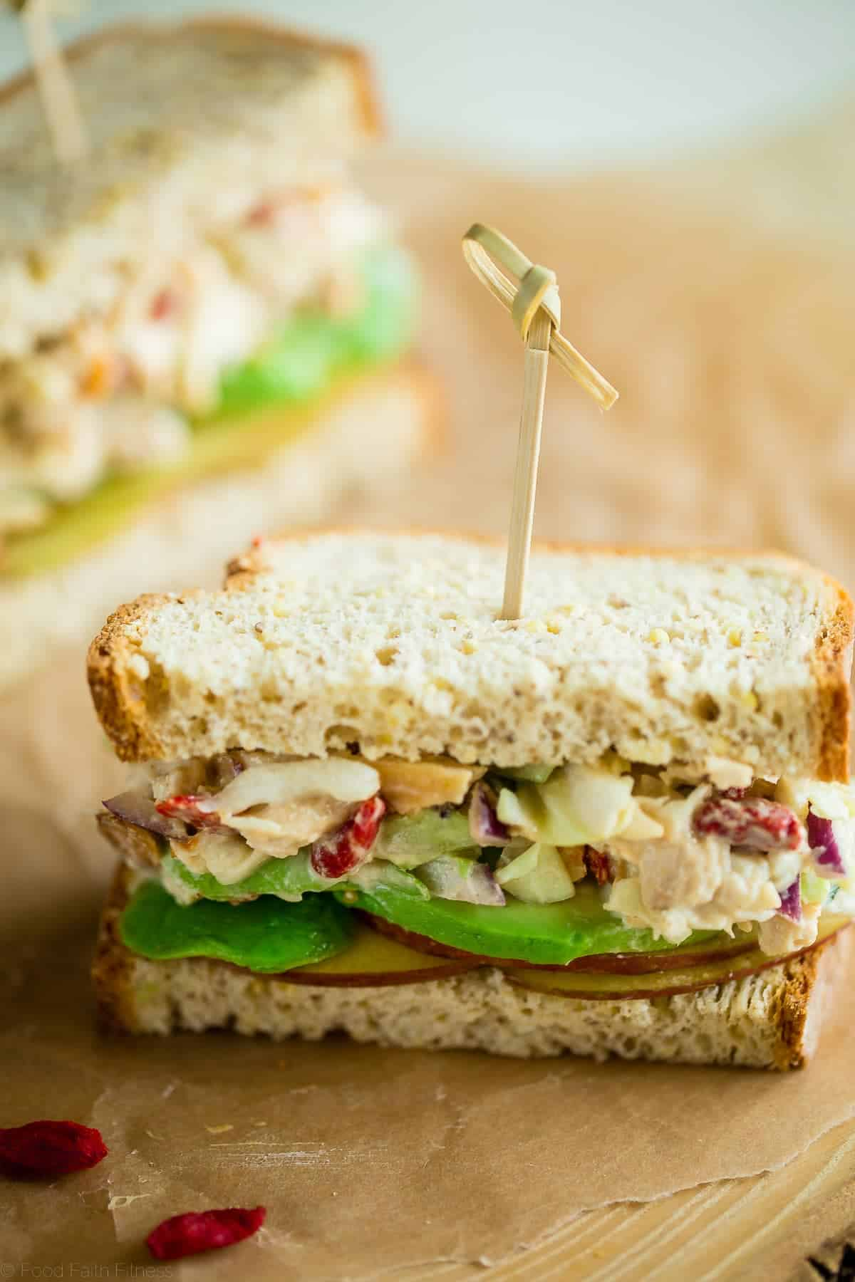 Gluten Free Superfood Greek Yogurt Chicken Salad Sandwich with Honey Mustard - This healthy sandwich is secretly packed with protein and superfoods! It's a quick and easy lunch, portable lunch that's great for kids or adults! | Foodfaithfitness.com | @FoodFaithFit