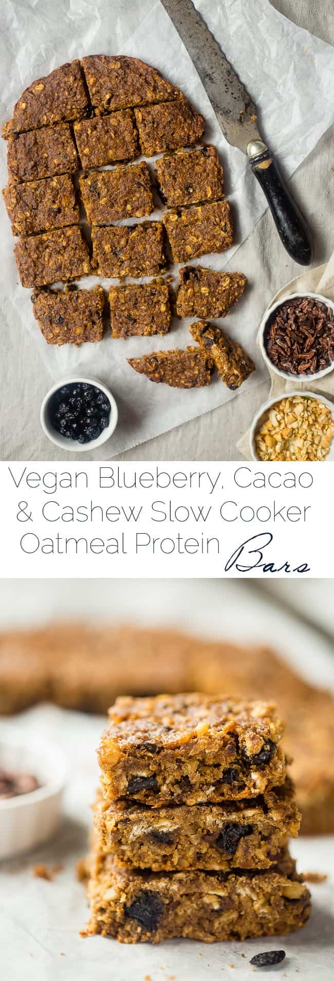 Vegan Slow Cooker Superfood Protein Bars - These easy homemade protein bars are made in your slow cooker, packed with superfoods and are gluten free and vegan friendly! Perfect for busy mornings or a healthy snack!   Foodfaithfitness.com   @FoodFaithFit