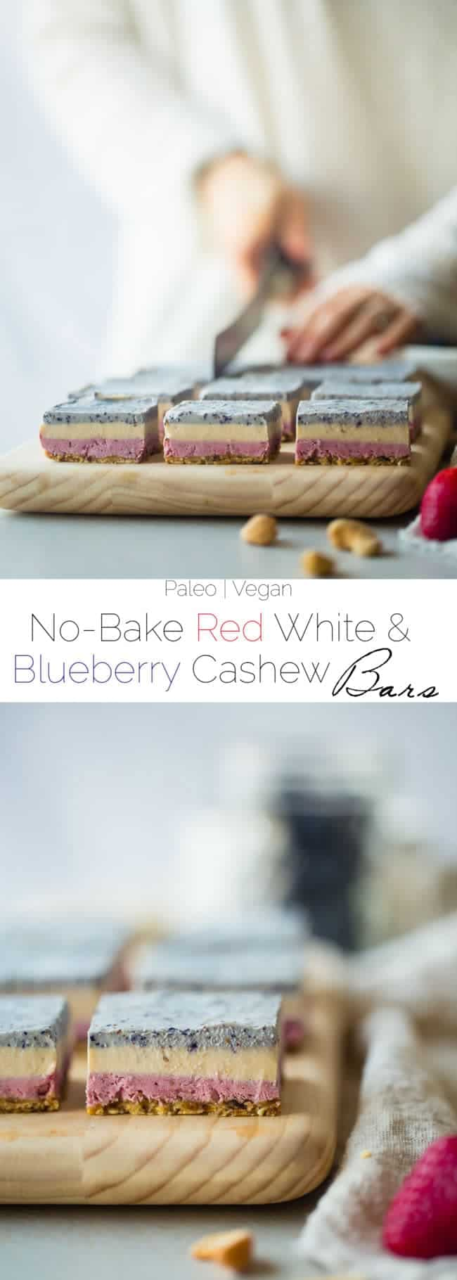 Vegan No Bake Red, White and Blueberry Cashew Cream Bars - These healthy bars are made of berry cashew cream, layered and then frozen! They're an easy, paleo and vegan friendly dessert for the fourth of July! | Foodfaithfitness.com | @FoodFaithFit