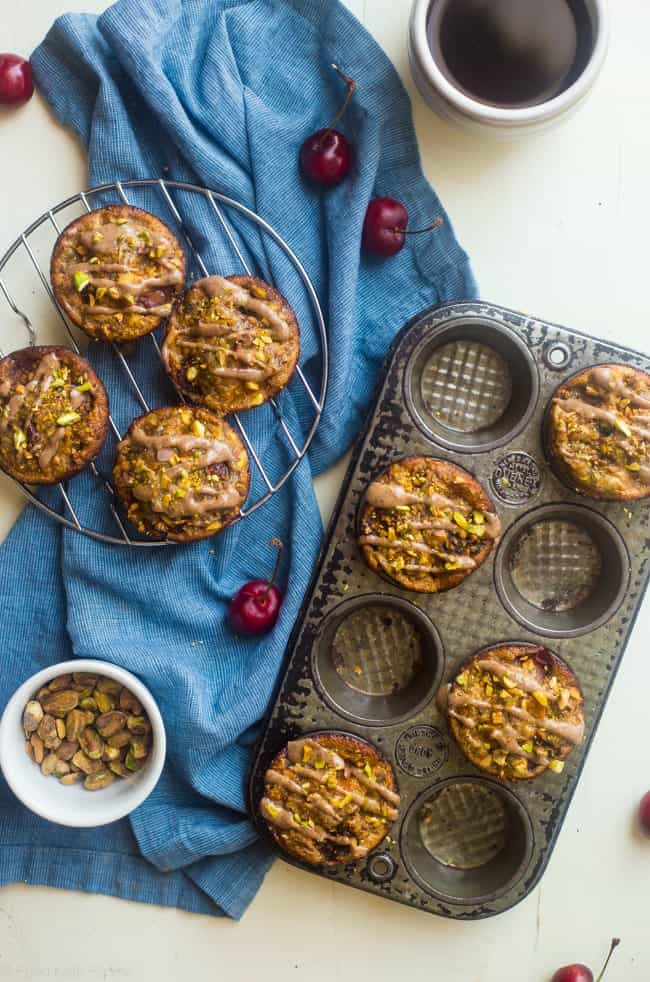 Almond, Cherry and Apricot Healthy Gluten Free Quinoa Muffins - These spicy-sweet, healthy quinoa muffins are packed with roasted cherries and apricots! They're an easy, portable breakfast or snack that's gluten free and kid friendly! | Foodfaithfitness.com | @FoodFaithFit