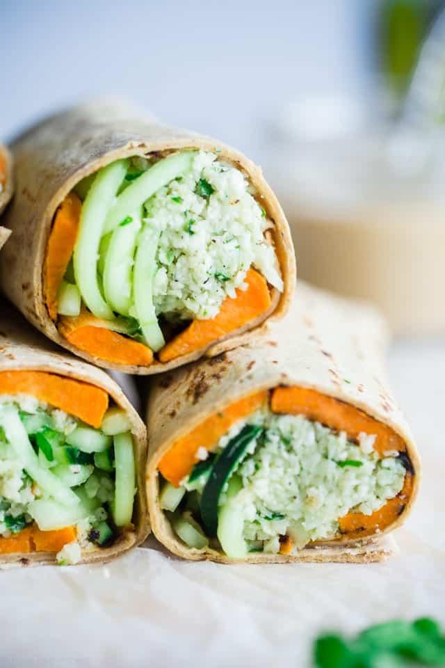 Mint Grilled Sweet Potatoes with Tahini Cauliflower Rice Wrap