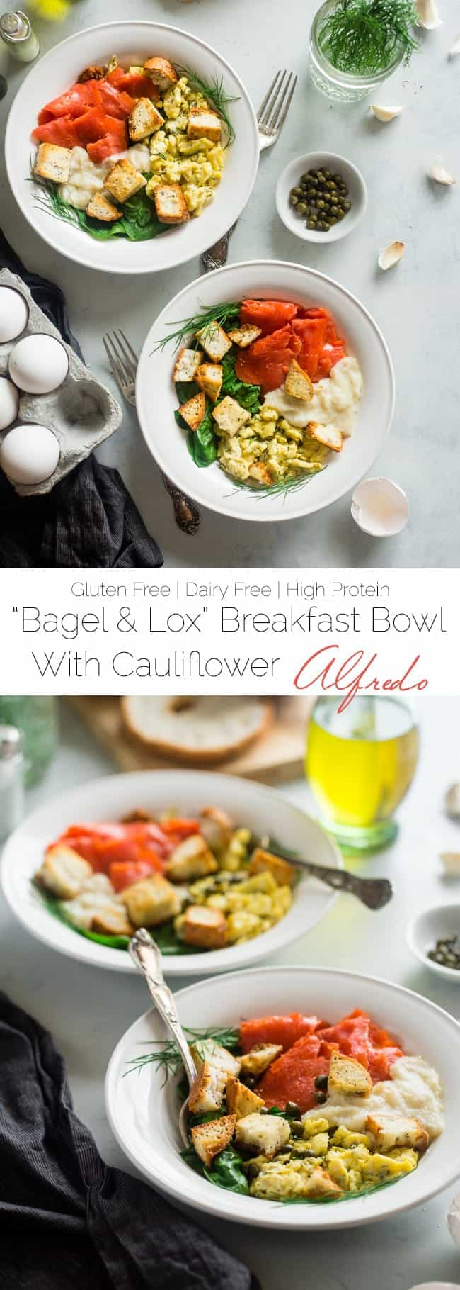 "Gluten Free Cauliflower Alfredo ""Lox Bagel"" Breakfast Bowls - These bowls are a spin on the classic lox bagel, and use cauliflower Alfredo instead of cream cheese to keep them dairy free, healthy and loaded with hidden veggies! 