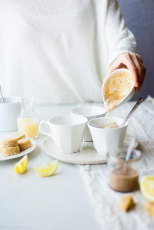 Gluten Free Lemon Macaroon Vegan Cake In a Mug - Have cookies IN your cake with this easy, gluten free vegan mug cake that's mixed with crumbled up lemon macaroons. It's a healthy dessert that's ready in under 5 minutes! | Foodfaithfitness.com | @FoodFaithFit