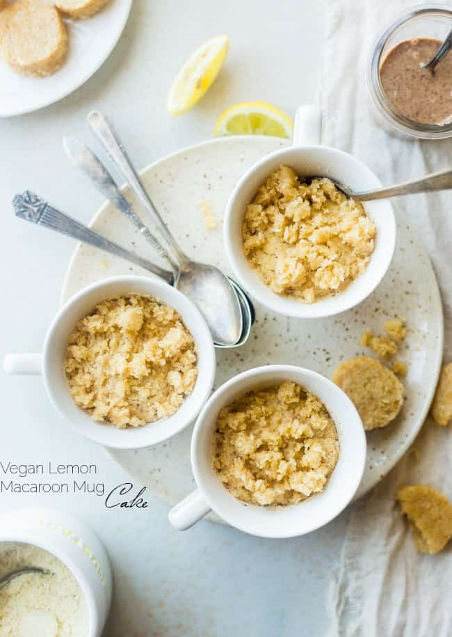 Gluten Free Lemon Macaroon Vegan Coconut Flour Mug Cake - Have cookies IN your cake with this easy, gluten free vegan mug cake that's mixed with crumbled up lemon macaroons. It's a healthy dessert that's ready in under 5 minutes!   Foodfaithfitness.com   @FoodFaithFit