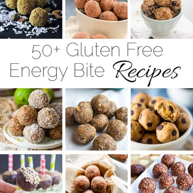A list of 50+ healthy and gluten free energy bite recipes that are simple to make and taste delicious! These bites will get you through the afternoon slump!