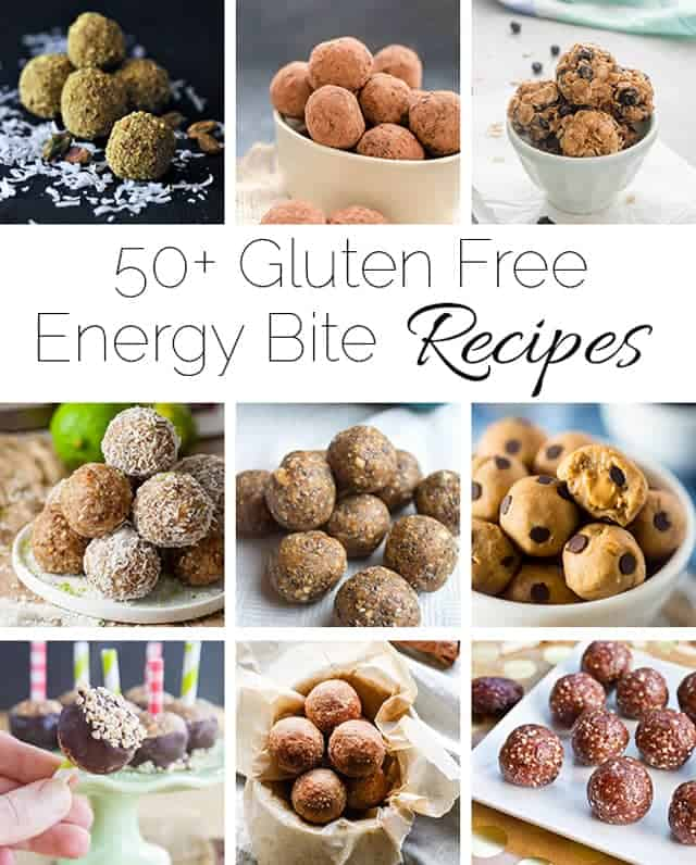 A list of 50+ healthy and gluten free energy bite recipes that are simple to make and taste delicious! These bites will get you through the afternoon slump! | Foodfaithfitness.com | @FoodFaithFit