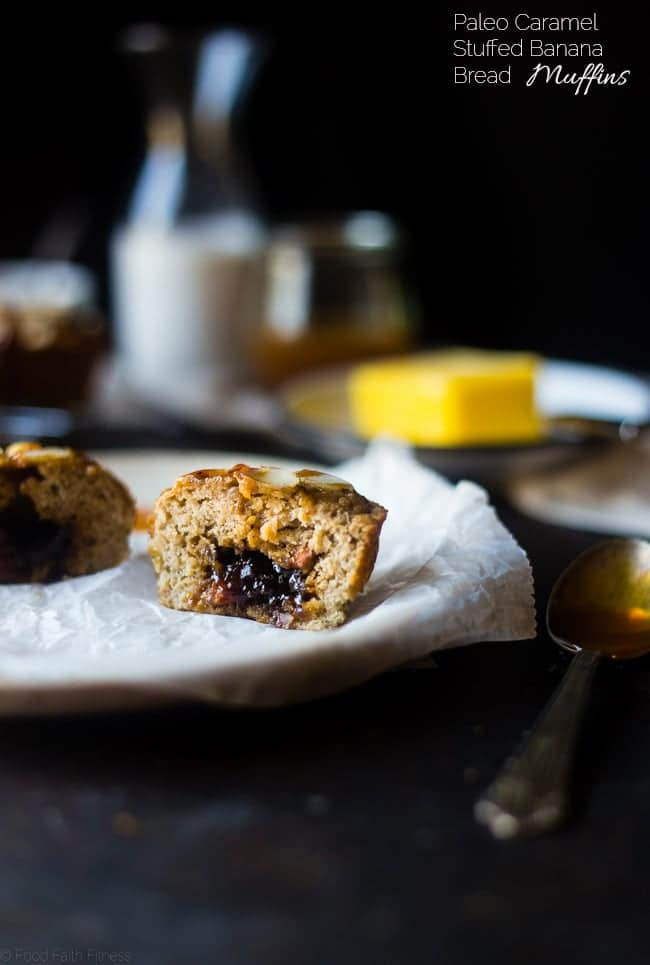 Caramel Stuffed Paleo Banana Bread Muffins - These muffins have a surprise center and you will NEVER know they are only 210 calories and grain and gluten free! They're a healthy, portable breakfast or snack! | Foodfaithfitness.com | @FoodFaithFit