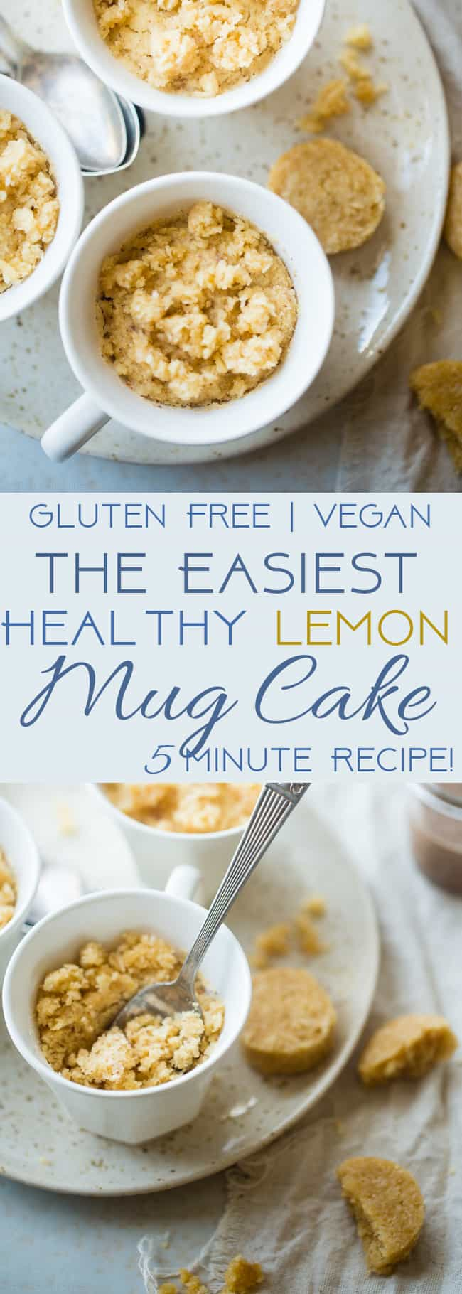 Gluten Free Lemon Macaroon Vegan Mug Cake - Have cookies IN your cake with this easy, gluten free vegan mug cake that's mixed with crumbled up lemon macaroons. It's a healthy dessert that's ready in under 5 minutes! | Foodfaithfitness.com | @FoodFaithFit | easy vegan mug cake. healthy vegan mug cake. vanilla mug cake. gluten fee mug cake. healthy mug cake. lemon mug cake. mug cake with coconut flour. flourless mug cake. Mug cake with applesauce.