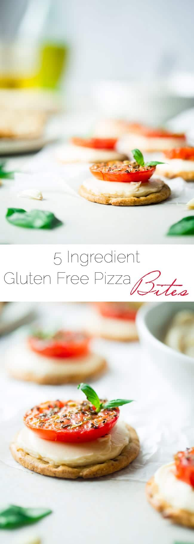 5 Ingredient Pizza Bites - These easy, healthy and gluten free pizza bites are SO simple to make and only use 5 ingredients! They're the perfect snack for after school that has all the pizza taste without all the work! | Foodfaithfitness.com | @FoodFaithFit