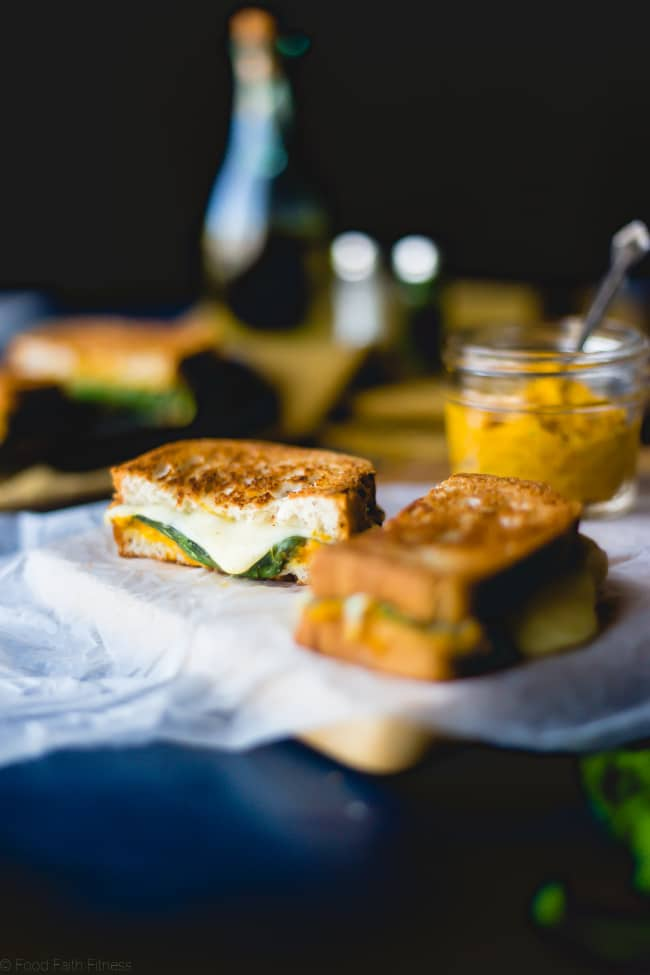 Gluten Free Pumpkin Hummus Grilled Cheese - This gluten free grilled cheese sandwich has the creamy, flavor of pumpkin! It's a healthier version of the classic sandwich that's perfect for fall lunches or dinners! | Foodfaithfitness.com | @FoodFaithFit