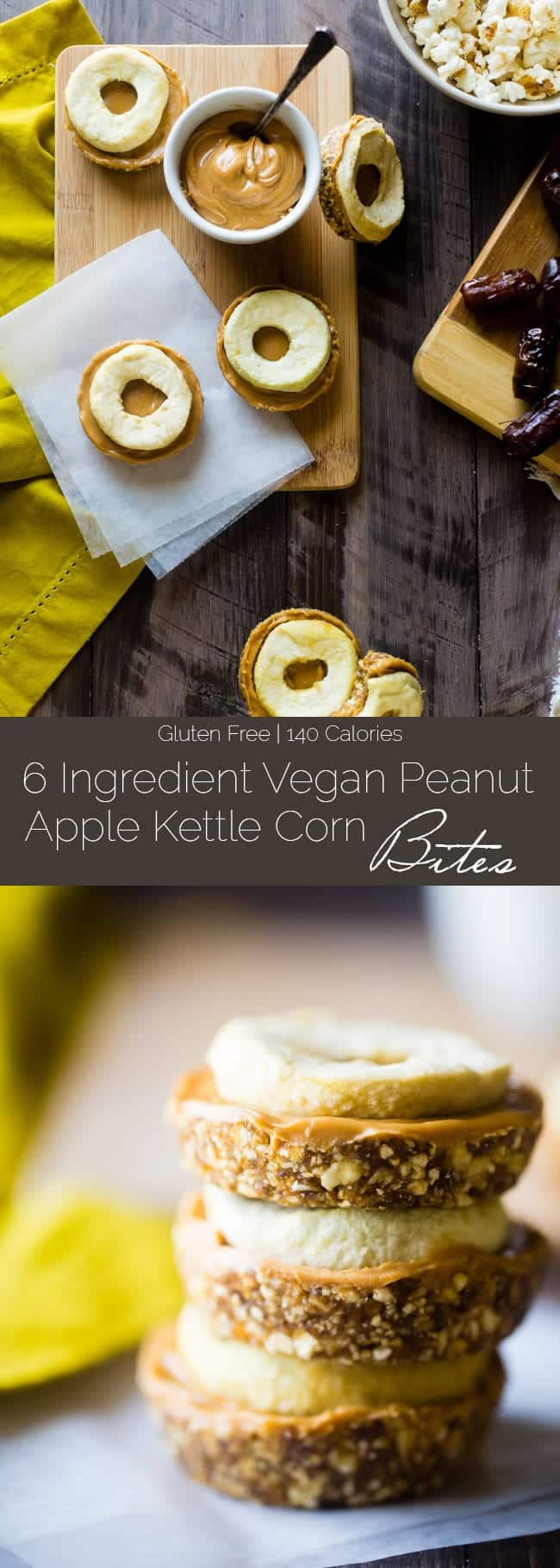 6 Ingredient Vegan Peanut Apple Kettle Corn Bites - These salty-sweet bites are an easy, healthy and gluten free fall snack that's ready in 15 minutes and are only 140 calories! | Foodfaithfitness.com | @FoodFaithFit