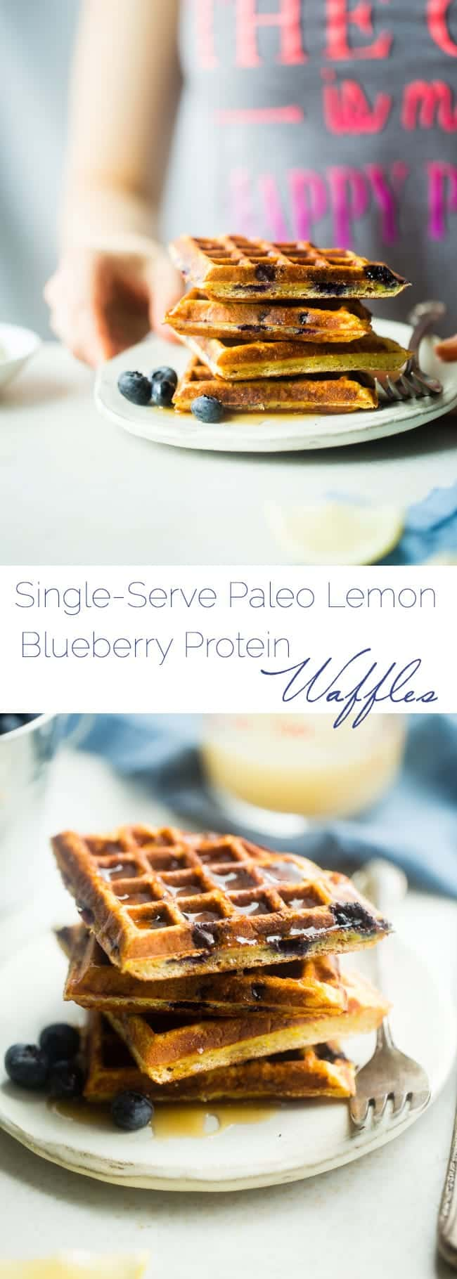 Single-Serve Lemon Blueberry Paleo Protein Waffles - These single-serve protein waffles are studded with juicy blueberries and have a 5 minute lemon sauce! Perfect for a paleo friendly, gluten free breakfast on busy mornings! | FoodFaithfitness.com | @FoodFaithFit