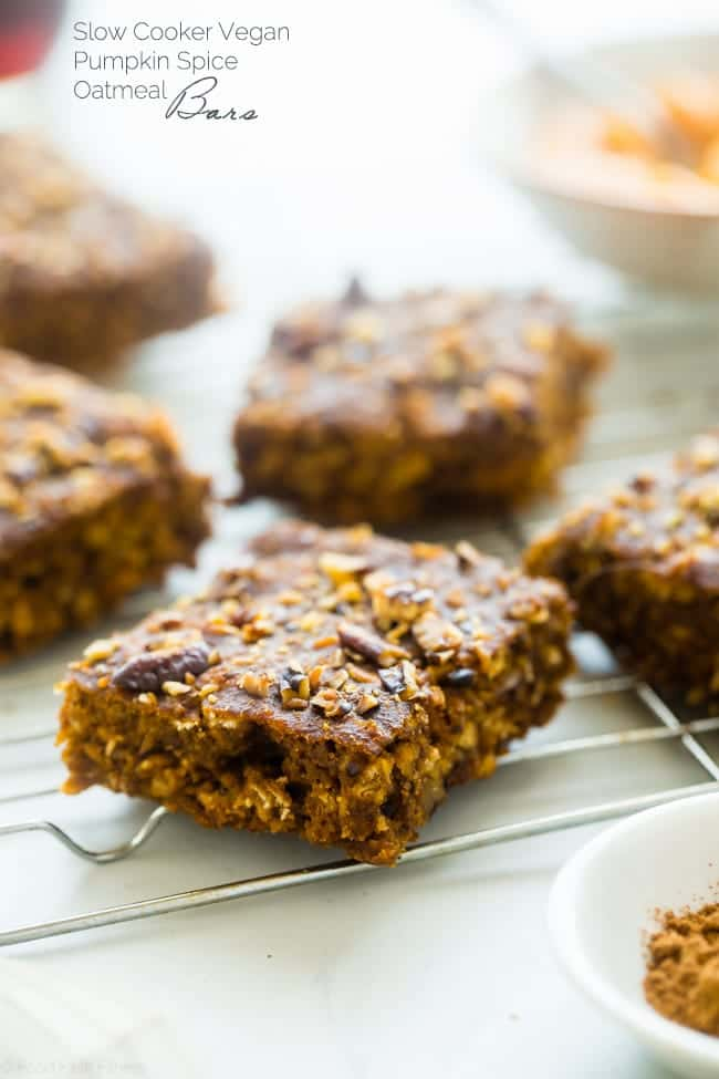 Vegan Pumpkin Spice Slow Cooker Oatmeal Breakfast Bars - These spicy-sweet, chewy bars are made in the slow cooker for a healthy, gluten free, and portable breakfast that's only 110 calories and 4 SmartPoints! | Foodfaithfitness.com | @FoodFaithFit