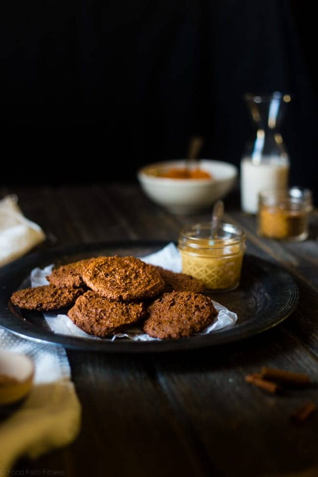 6 Ingredient Pumpkin Paleo Cookies - Soft, cakey and only 70 calories! They're made in one bowl, are butter and oil free, and are the perfect healthy cookies for fall! | Foodfaithfitness.com | @FoodFaithFit
