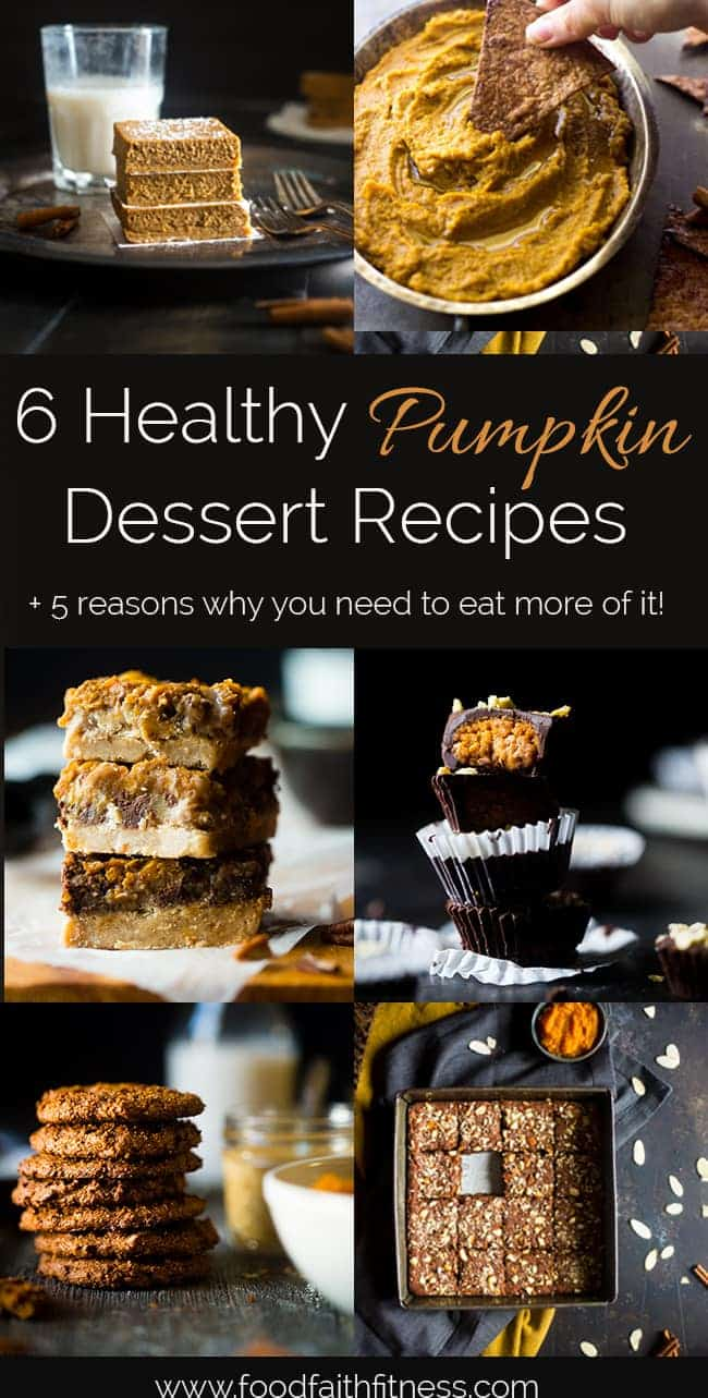 5 Health Benefits of Pumpkin + 6 Healthy Pumpkin Dessert Recipes - 5 reasons why you need to eat more pumpkin, and 6 delicious, healthy dessert recipes to try! | Foodfaithfitness.com | @FoodFaithFit