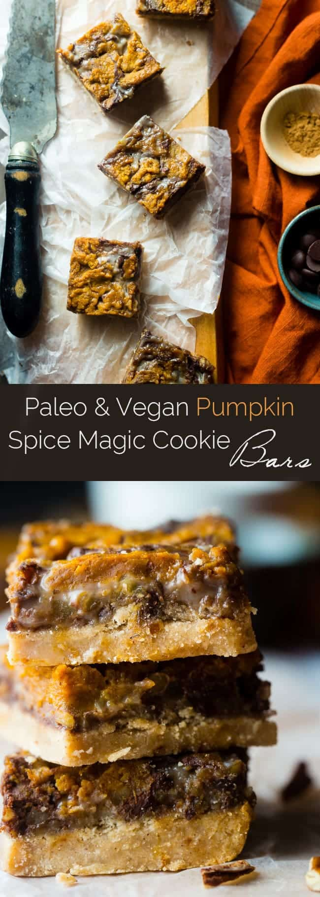 Vegan Pumpkin Spice Paleo Magic Cookie Bars - A healthier, dairy and gluten free version of the classic dessert that are packed with spicy-sweet fall flavors and are so easy to make! | Foodfaithfitness.com | @FoodFaithFit