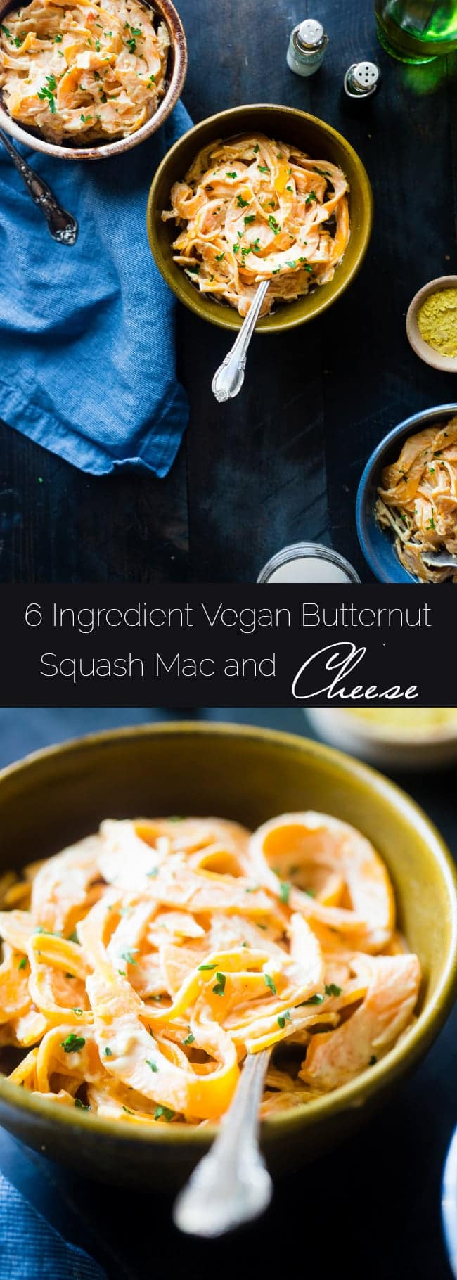 6 Ingredient Vegan Mac and Cheese with Spiralized Butternut Squash Noodles - So creamy you will never guess it's a healthy, gluten and grain free, vegan mac and cheese that is SO easy to make! | Foodfaithfitness.com | @FoodFaithFit