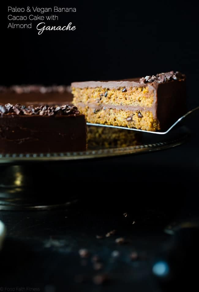 Paleo Cacao Banana Bread Cake - This show stopping cake has a rich, creamy almond butter chocolate ganache! You'll never know it's a healthier, paleo and vegan friendly dessert!   Foodfaithfitness.com   @FoodFaithFit
