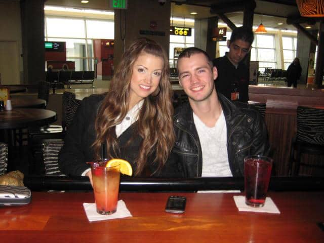 That time our honeymoon almost didn't happen and our flight got delayed 12 hours so we had drinks at 8am